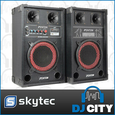 SPB-8 Skytec Active Speaker Set powered Dual 8 Inch set with MP3 USb Media Pl...