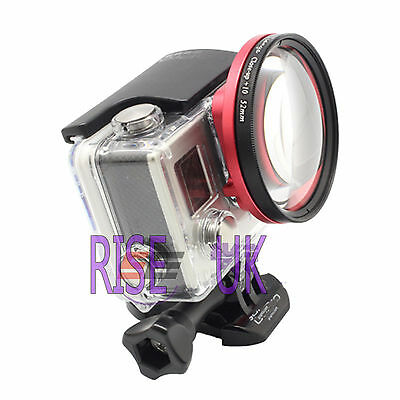 52mm close up lens macro +4  filter + adapter ring   for  GoPro Hero 3 + 4