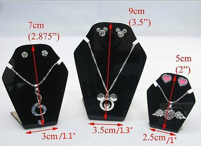 Mini 2 Sets of 6 Black Acrylic Easel Jewelry Necklace Display Stand Earring