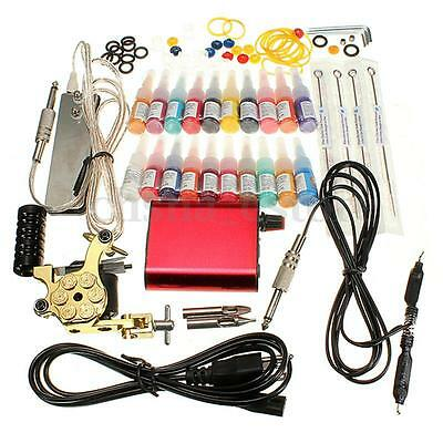 Kit Tatuaggio Tattoo Macchina Gun 20 Colore Inchiostro Power Supply Needles Set