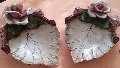 Antique 2 Pc Dresser Jewelry Vanity Candy Dish Pink Rose Leaf Capodimonte Italy
