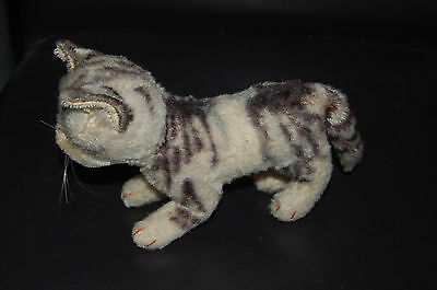 VINTAGE 1949-58 STEIFF FIRM BODIED MOHAIR TABBY CAT WITH BUTTON ID + TAG (14cm)