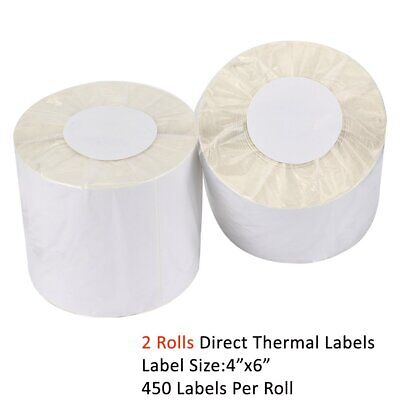 2 Rolls Direct Thermal Labels 450/Roll 4x6 For Zebra UPS LP2844 Eltron ZP450