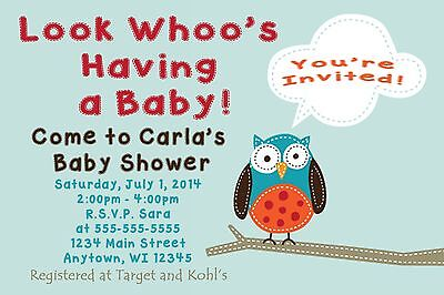 Custom Personalized Boy Girl Owl Cute Stitched Baby Shower Invitations Neutral