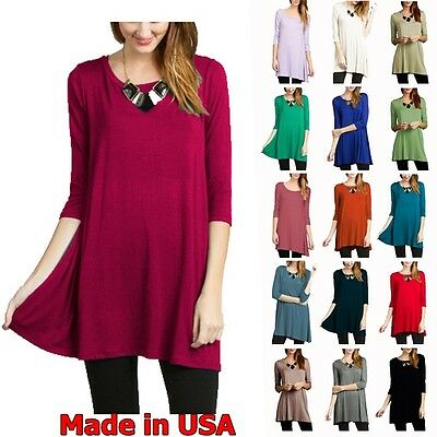 Made in USA Womens 3/4 Sleeve Long Tunic Dress RoundNeck Top S M L XL Plus 2X 3X