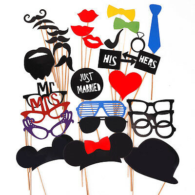 31pcs photo booth Masque avec tige mariage amoureux party props his hers Mr Mrs