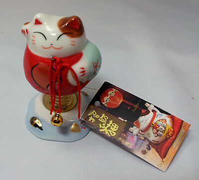 Chinese Porcelain Bobble Head Cat Very Cute