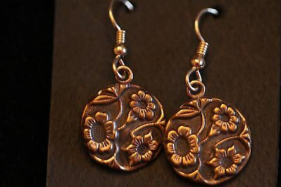Earrings Made From Victorian Buttons 5/8 Dia Raised Embossed Floral Design Great