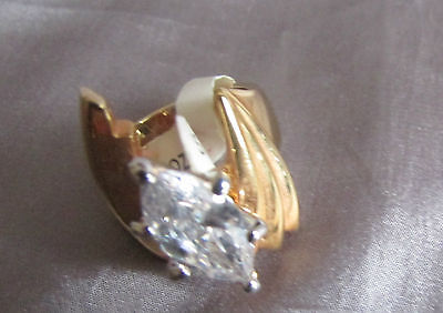 BEAUTIFUL DESIGNED MARQUISE WHITE STONE GOLDTONE SCULPTURED COCKTAIL RING Size 7