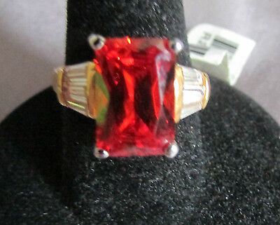 Dainty Designed Radiant Red Orange Stone/white Baguette Gold Cocktail Ring S.  7