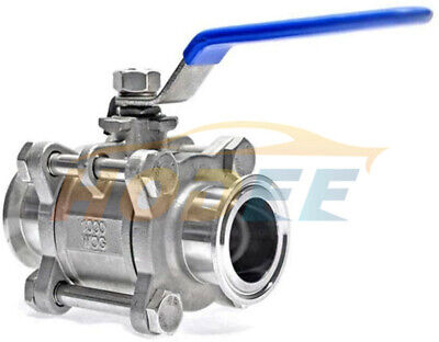 "HODEE 1.5"" OD:38MM Sanitary stainless steel 3 Piece ball valve SS304 Triclamp"