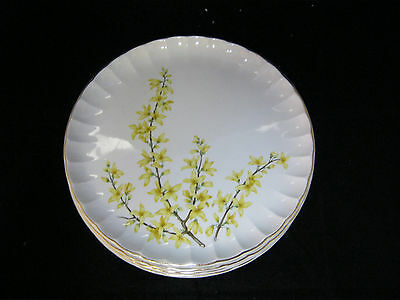 "W.S. George B8795 FORSYTHIA Bolero Shape 4-7 1/4"" Salad Pie Plates Gold Trim"