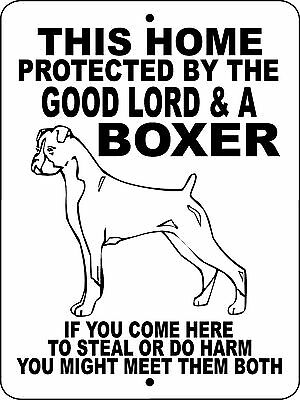 "BOXER DOG SIGN, GUARD DOG, ALUMINUM 9""x12"",GUARD DOG,BOXERS Sign Decal GLBOX2"