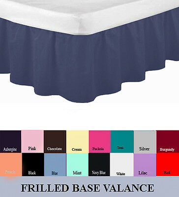Luxury Plain Dyed Frilled Poly Cotton Platform Base Valance Sheets All Sizes