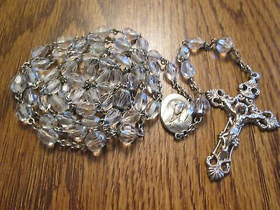 Vintage Antique Ihs Crystal Rosary Mary & Jesus Religious Medal Ihs  Lot # A-32