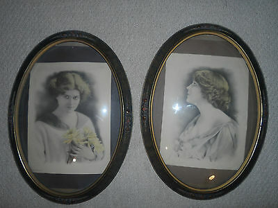 2 Large Antique Victorian Oval Picture Frames Convex Domed Bubble Glass? 22 x 16