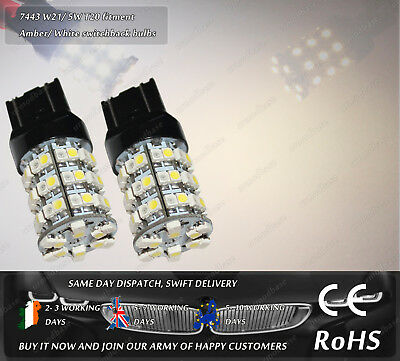 LED SMD 7443 W21/5W T20 580 Amber Yellow Xenon White Switchback Light Bulbs 12V