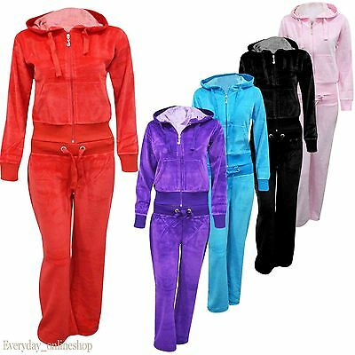 Ladies Womens Sexy Full Velour Tracksuit Jogging Hoody Suit S,M,L,XL,2XL,3XL,4XL