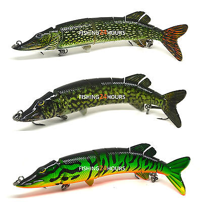 "5"", 8"" Pike Muskie Fishing Bait Swimbait Lure Life-like Baby Multi-jointed NEW"