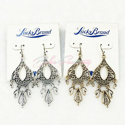 Lucky Brand Gold and Silver Tone Filigree Openwork Bohemian Chandelier Earrings