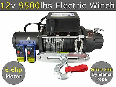 12V 9500lbs Electric Winch 8mm X 30m Dyneema Synthetic Rope 4X4 9000lbs 12000lbs
