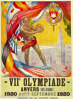1920 Olympic Games Belgium Antherp Vintage Travel Advertisement Poster