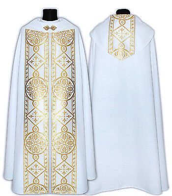 White Gothic cope LINED, Pluviale, vestment K0013-BL usa