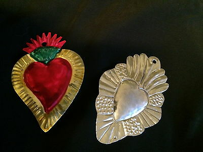 """Two Tin Heart Milagros """"Love on Fire"""" Valentines from Mexico"""
