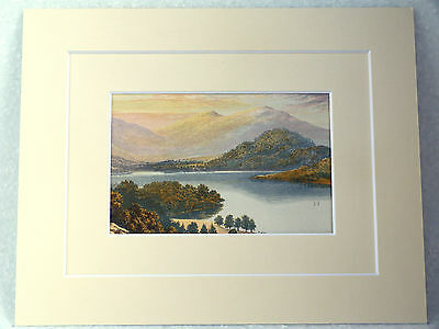 Ullswater Very Rare Antique Victorian Double Mounted  Print 1880 10X8 Overall