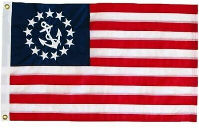 """12"""" x 18"""" Yacht Ensign Nautical Boat Flag Sewn Anchor Sewn Stripes Made in USA"""