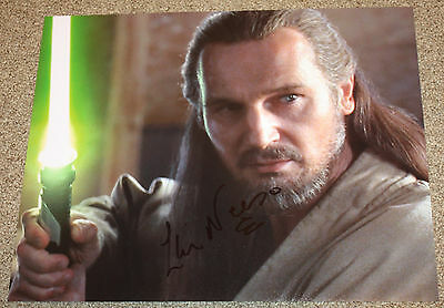 Liam Neeson Star Wars EP 1 Qui Gon Gin SIGNED RARE FULL SIG 11x14 - K9 - PROOF