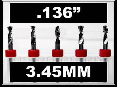 "3.45mm - .136"" - 1/8"" Shank  Carbide Drill Bits FIVE Pcs CNC Dremel Model Hobby"