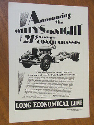 1928 Willys Knight 21 passenger coach chassis original full page advertisement