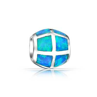 Bling Jewelry 925 Sterling Silver Blue Opal Inlay Barrel Bead