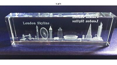 London 3D Skyline Laser Cut Glass Office Paper Weight Showpiece Souvenir Gift