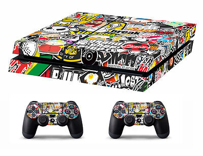 PS4 vinyl Skin Stickers stickerbomb style 1 for Console & 2 controllers