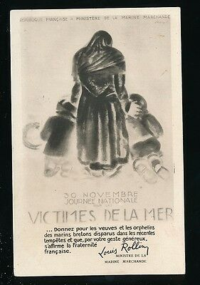 France Victimes De La Mer c1930 Tempest disaster Widows & Orphans appeal PPC