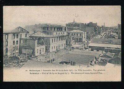 Greece SALONIQUE Fire disaster 1917 Destroyed Town general view unused PPC