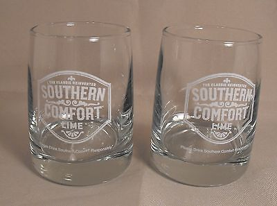 Two Collectible Southern Comfort Lime  Weighted Bottom Clear  Rocks Bar Glasses
