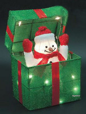 ANIMATED SNOWMAN GIFT BOX LIGHTED TINSEL INDOOR/OUTDOOR CHRISTMAS DECORATION