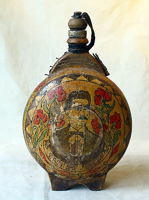 ANTIQUE PRIMITIVE 19`c RARE HAND MADE Painting WOODEN CANTEEN WINE VESSEL - V.L.