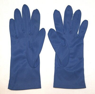 Vintage Gloves - Ladies Royal Blue Nylon Gloves - Size Small/Medium - Hong Kong