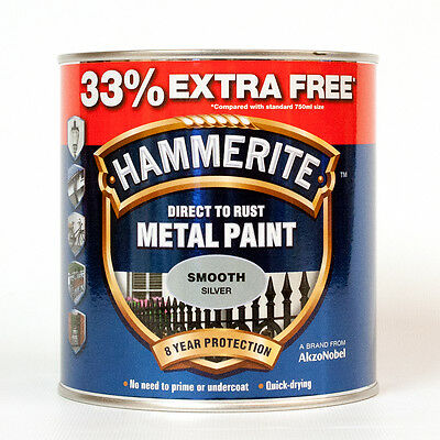 Hammerite Metal Paint Smooth - Silver - 750ml - 33% EXTRA FREE 1L Tin