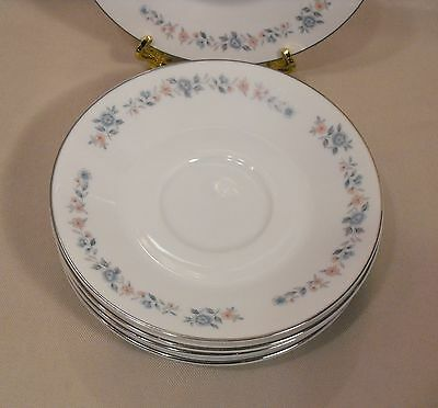 Five (5)  Nasco Fine China  Saucers Belmont Pattern Platinum Trim Made Japan