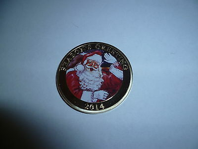 ONE 1 TROY OZ 24k 100 MILLS .999 FINE GOLD CLAD COIN SEASON'S GREETING 2014