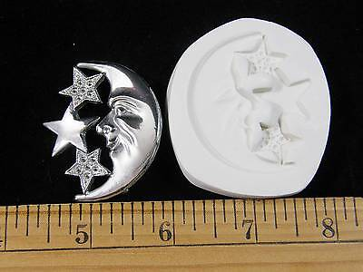 Moon Face Crescent w/ Stars Polymer Clay Push Mold (#MD1305)