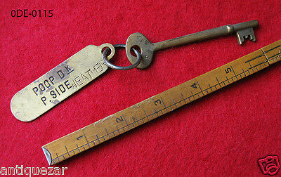 Rare Genuine Poop Deck Tag Antique Ship Skeleton Key - Navy Nautical Old Gift