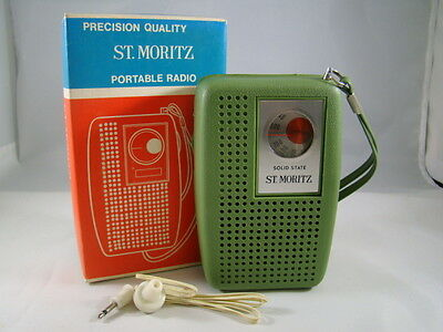 St. Moritz Solid State AM Pocket Radio Original Box Model 500 w/ear plug Sage