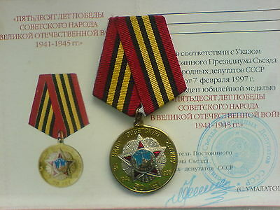 50 Years of the Victory in WW2 USSR Soviet Russian Military Medal Umalatova