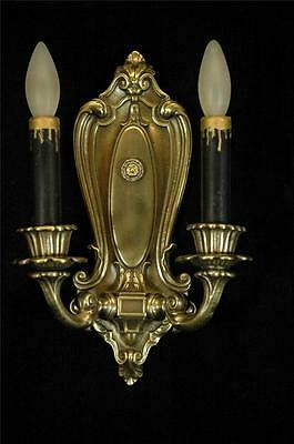 Antique Restored 1920's Colonial Revival Cast Brass Wall Sconce
